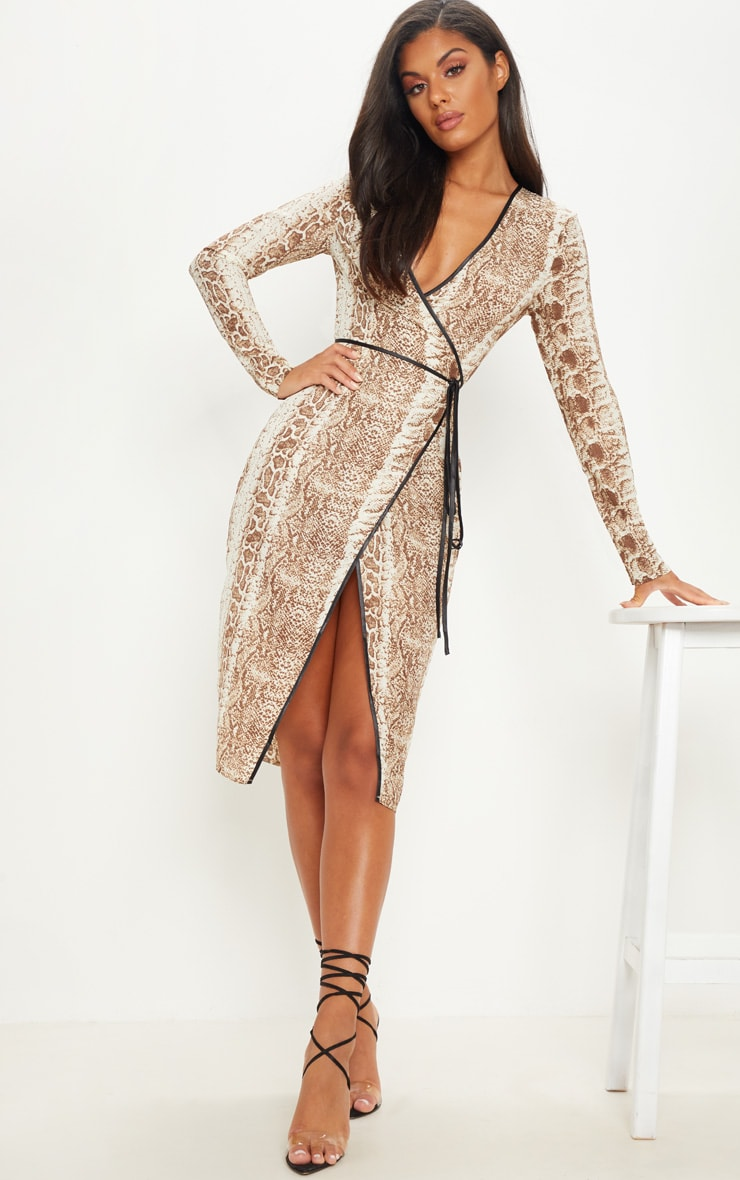 Tan Snake Print Binding Detail Wrap Midi Dress 1