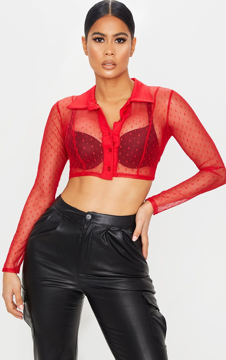 Red Dobby Mesh Cropped Shirt 1