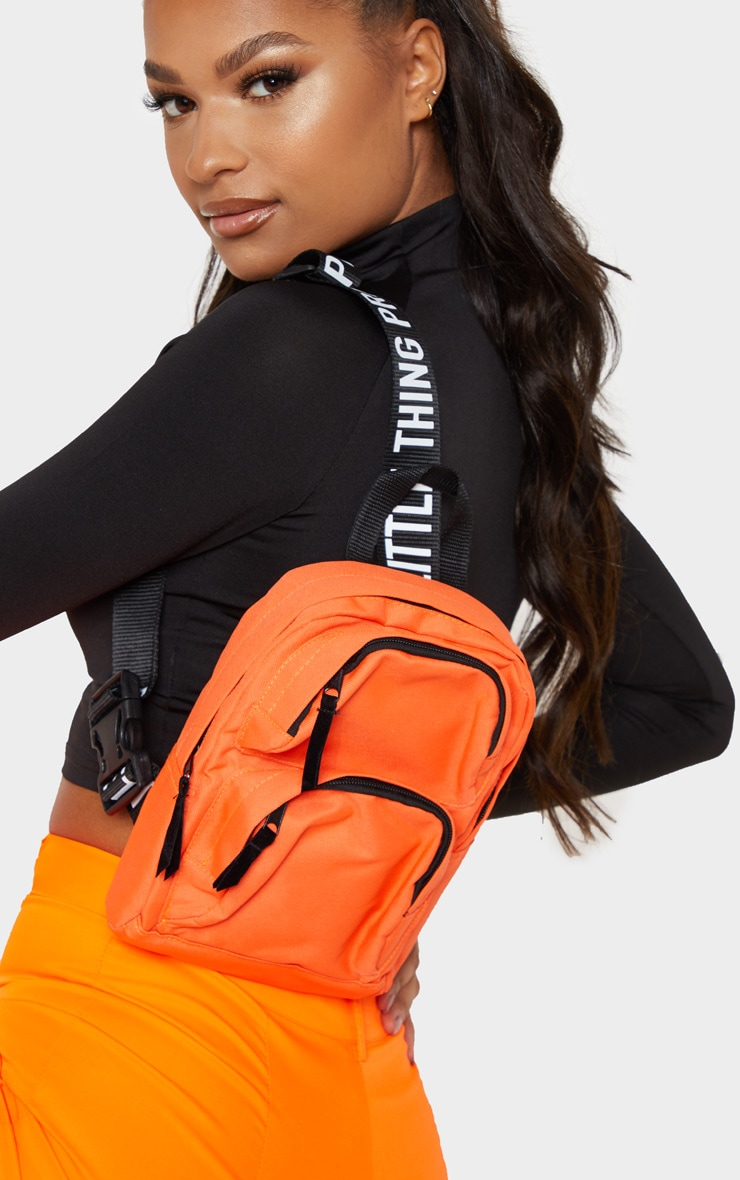 PRETTYLITTLETHING Neon Orange Nylon Front Rucksack 2
