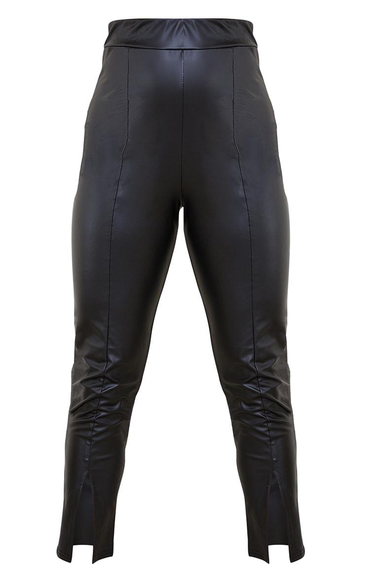 Petite Black Cropped Split Hem Pu Trouser 5