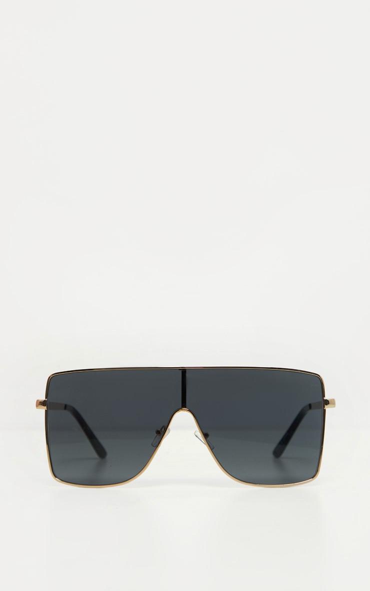 Black Oversize Flat Top Sunglasses 2