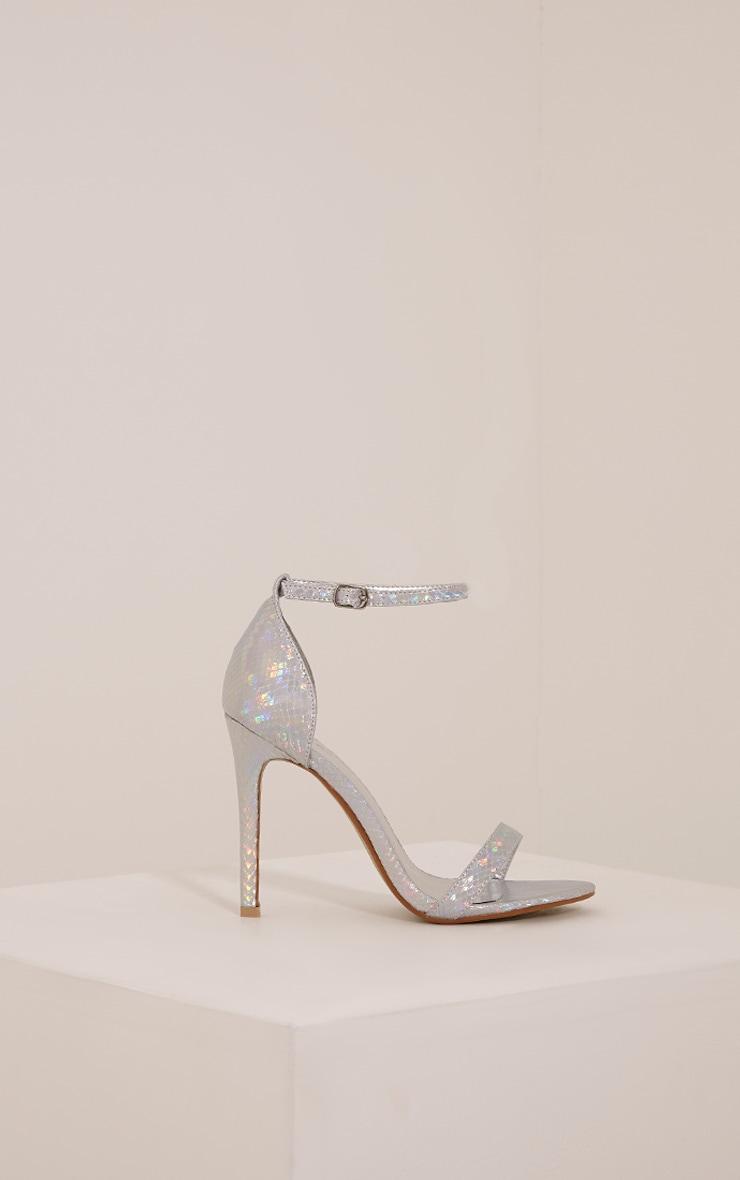 Franza Silver Metallic Strap Heeled Sandal 3