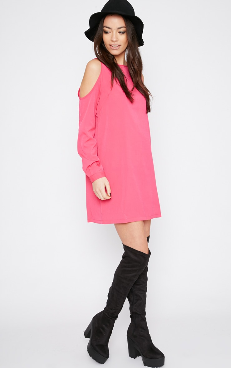 Genny Pink Cut Out Shoulder Dress 3