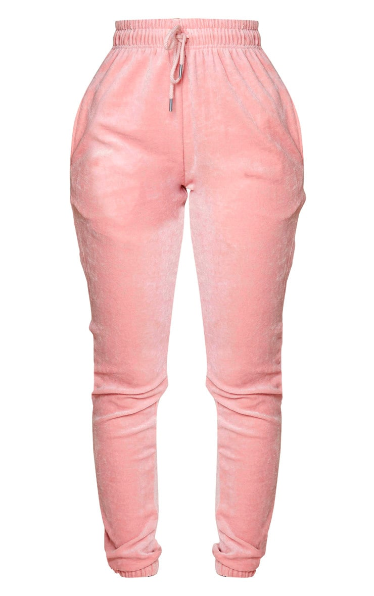 PRETTYLITTLETHING Shape Dusty Pink Velour Skinny Jogger 5