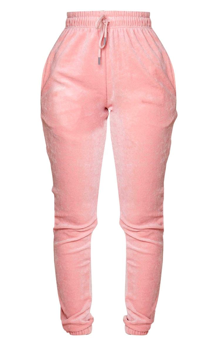 PRETTYLITTLETHING Shape Dusty Pink Velour Skinny Joggers 5