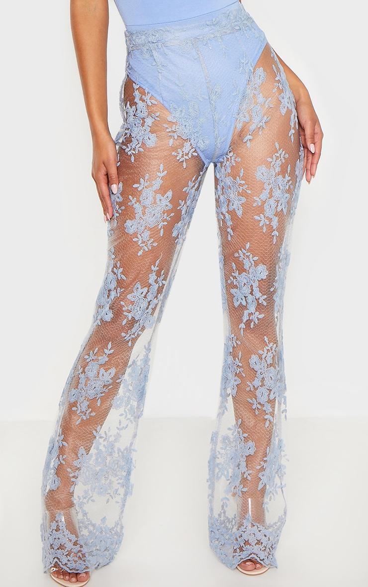 Dusty Blue Sheer Lace Flare Leg Pants 2