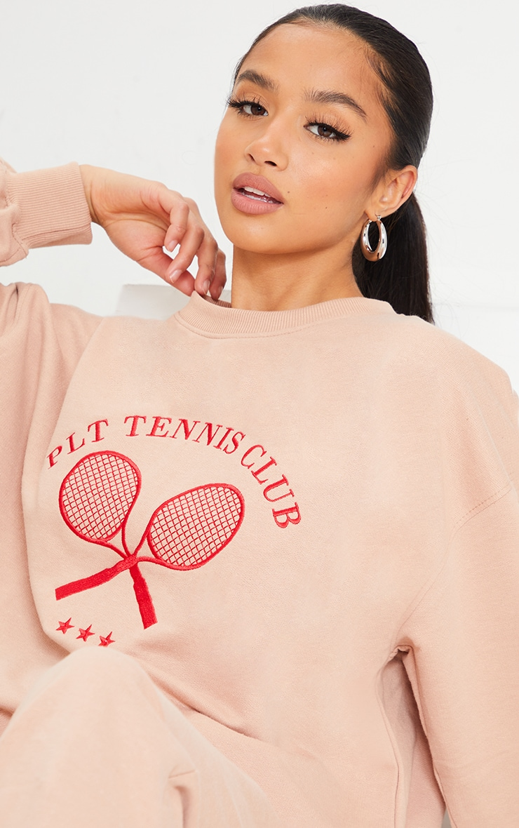 PRETTYLITTLETHING Petite Stone Tennis Club Oversized Sweat 4