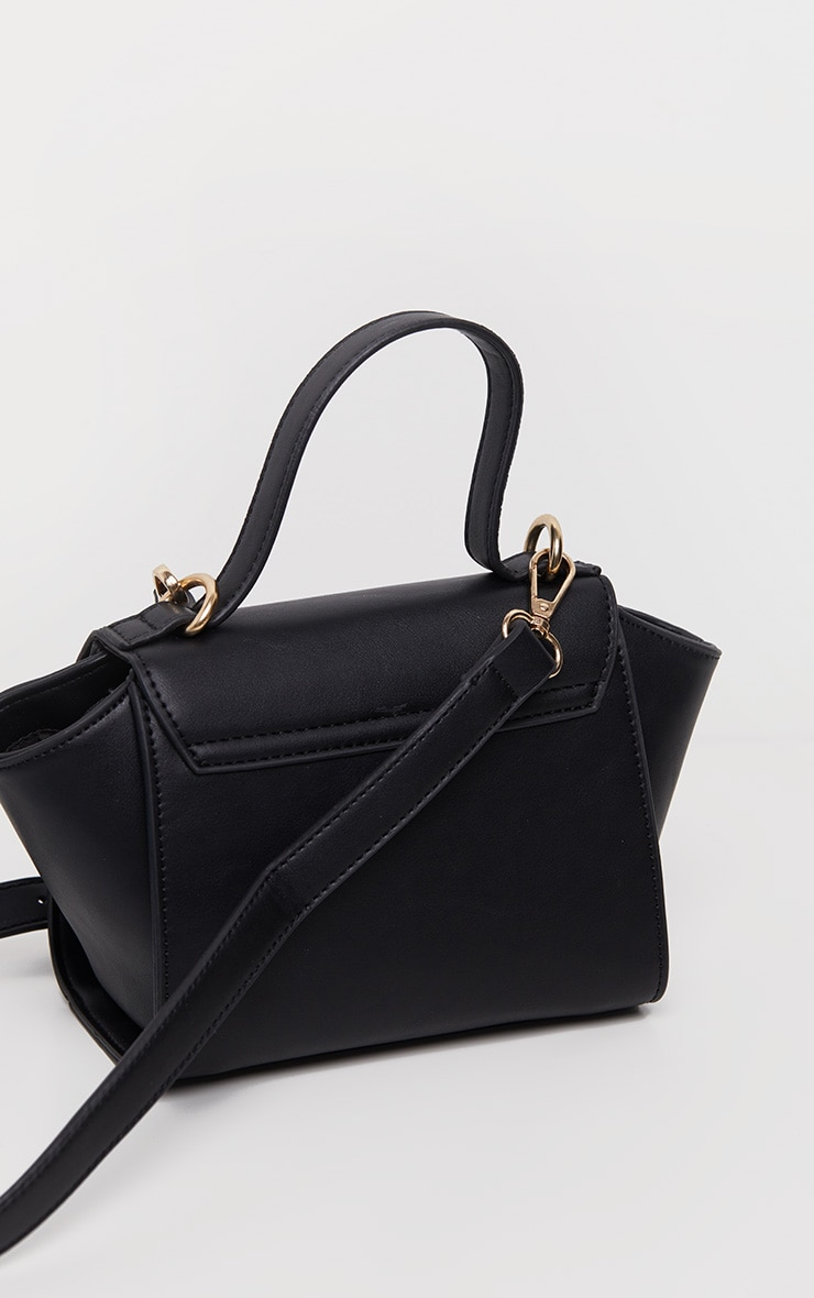 Black PU Metal Fastening Mini Bag 5