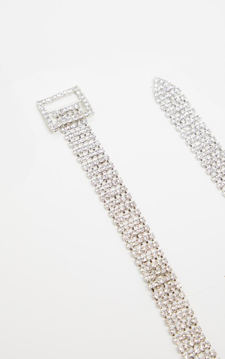 Silver Diamante Buckle Style Choker 3
