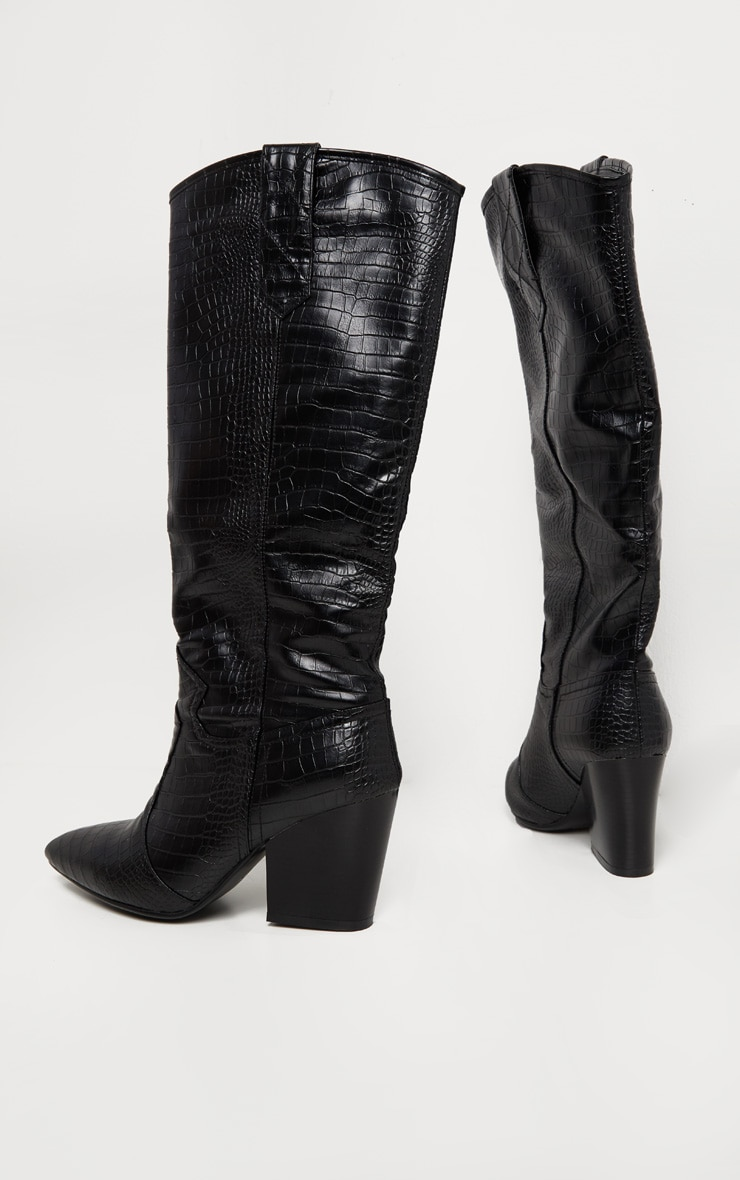 Black Knee High Heeled Western Boot 4