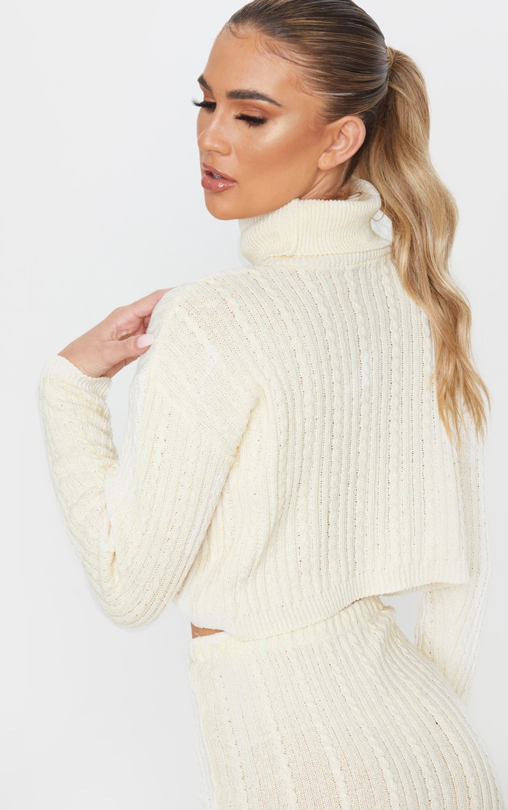 Cream Roll Neck Cable Knit Cropped Sweater 2