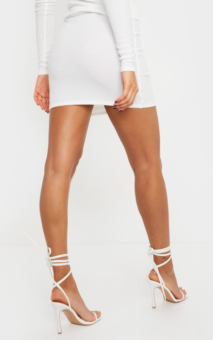 Cream Soft Brushed Rib Mini Skirt 4