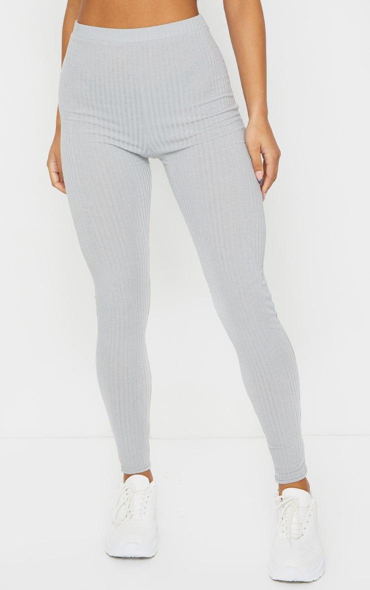 Grey Ribbed Leggings 2