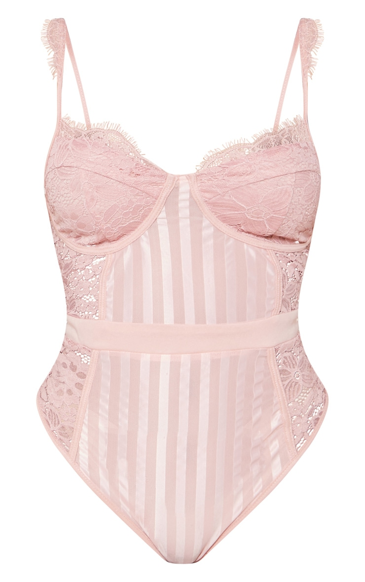 Shape Dusty Pink Lace Mesh Stripe Bodysuit 4
