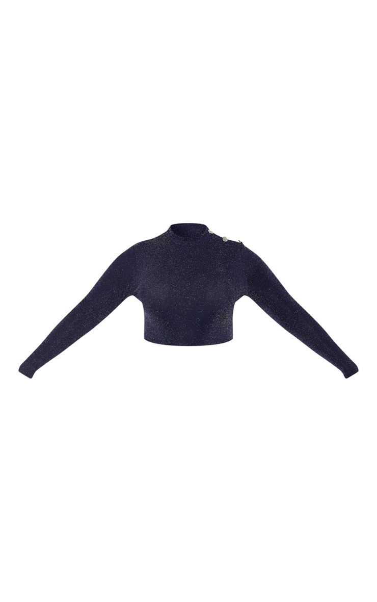 Plus Navy Glitter Button Detail Long Sleeve Crop Top 3