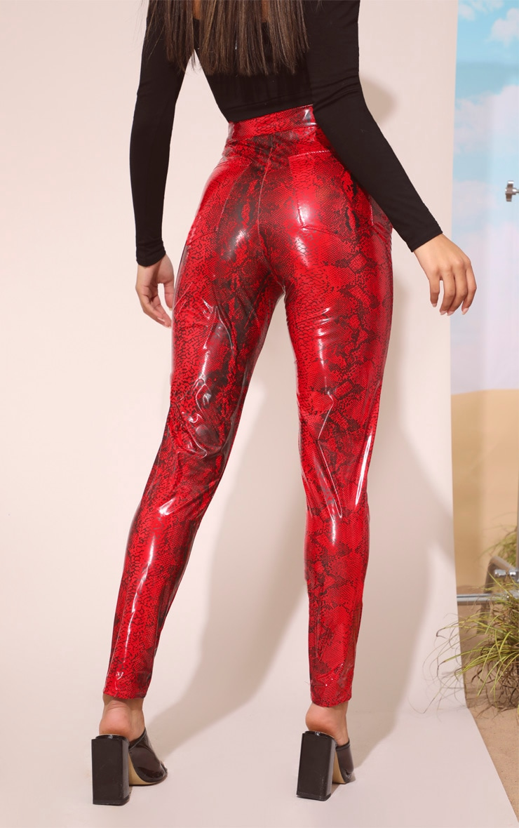 Red Snake Vinyl Zip Front Pants 5