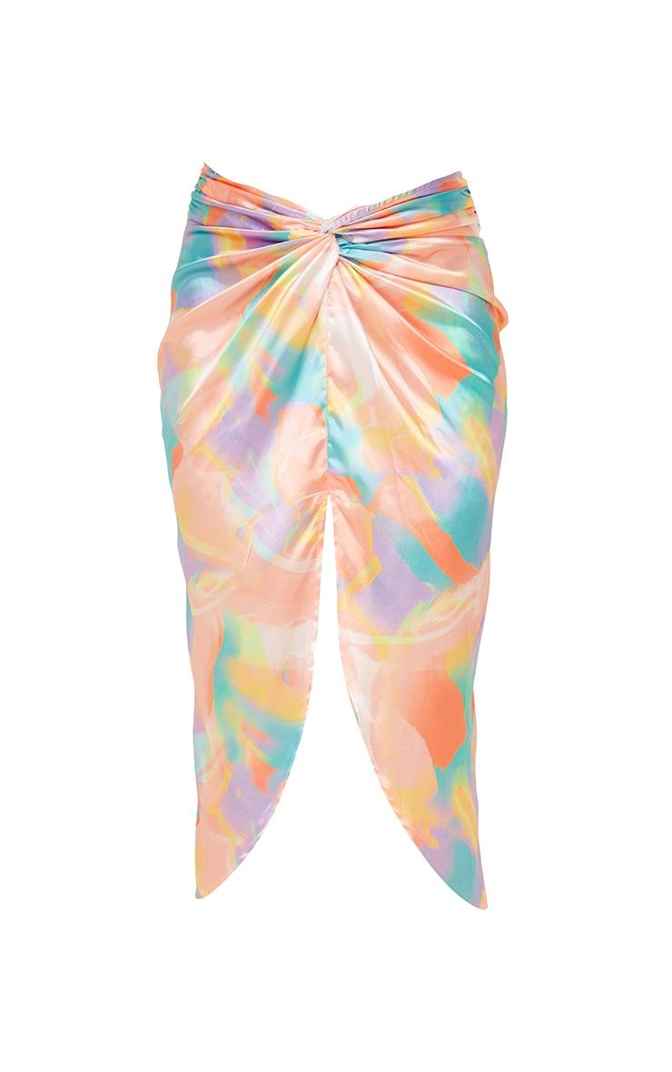 Multi Pastel Print Satin Shimmer Twist Front Midi Skirt 5