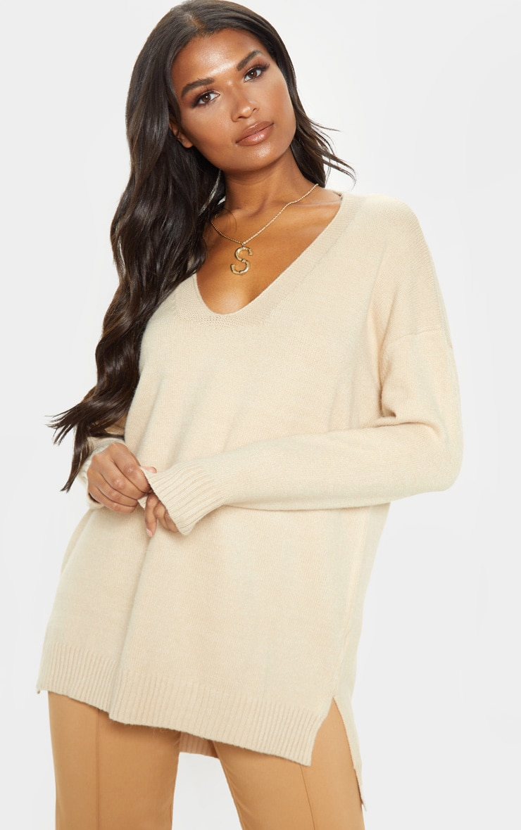 Stone Oversized V Neck Knitted Jumper 1
