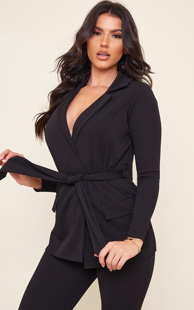 Tall Black LongLine Suit Blazer 1