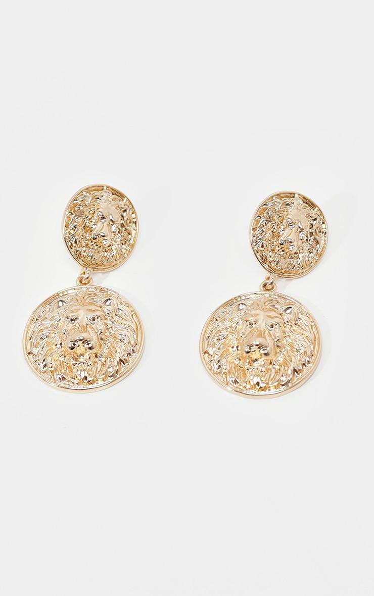 Gold Lions Head Double Penny Earrings 4