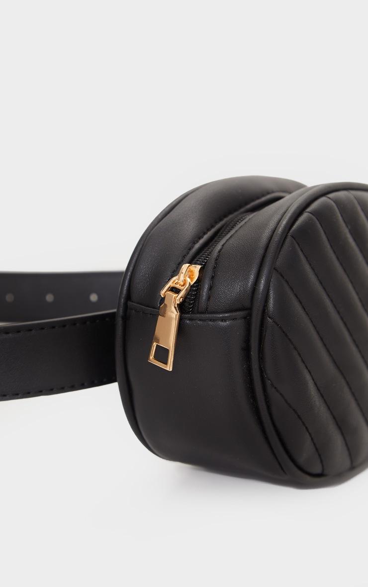Black Chevron Quilted Bum Bag 2
