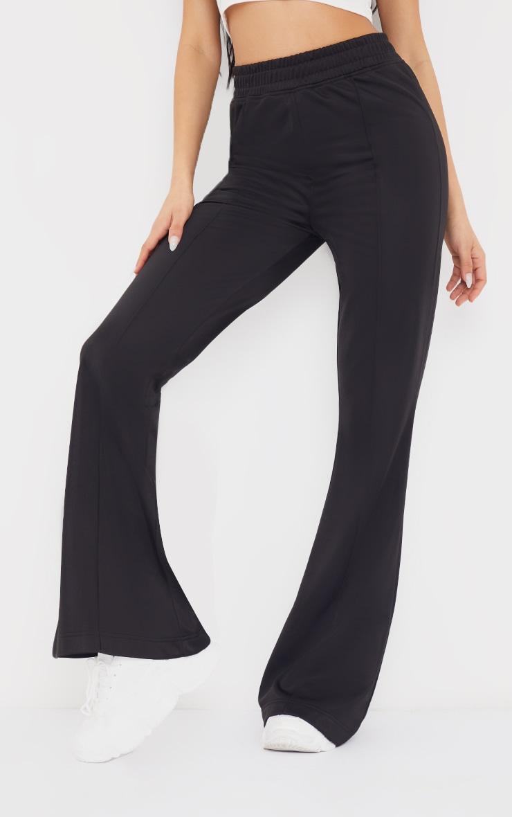 Black Tri Cot Flared Trousers 2