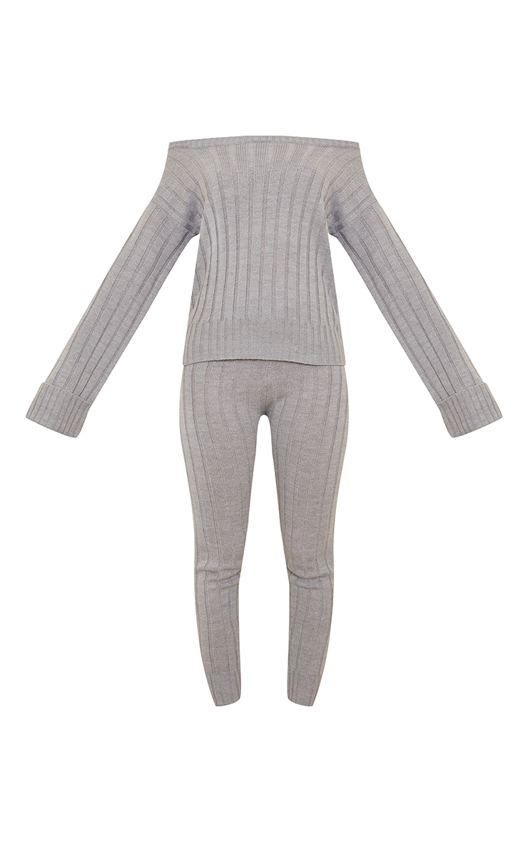 Grey Bardot Jumper And Legging Lounge Set 5