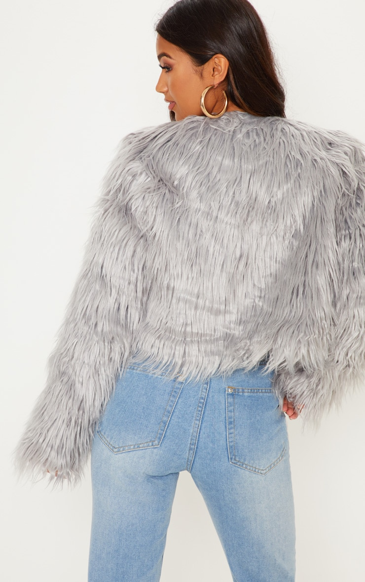Liddie Grey Faux Fur Shaggy Cropped Jacket 2