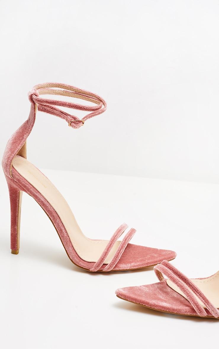 Blush Velvet Point Toe Strappy Sandal  4