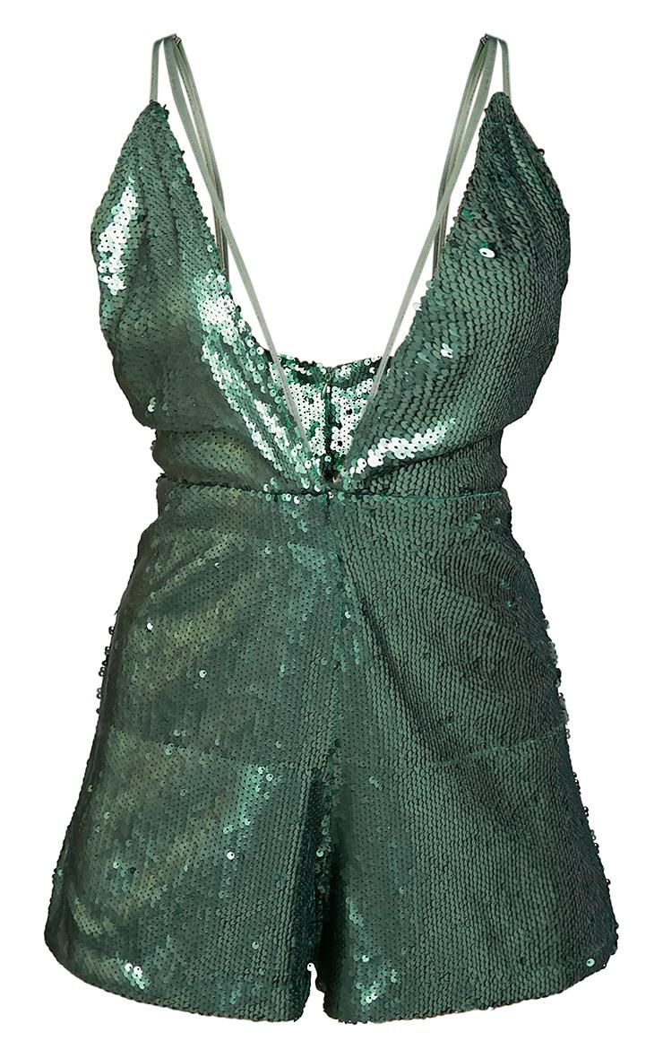 Tarlia Green Sequin Plunge Playsuit 3