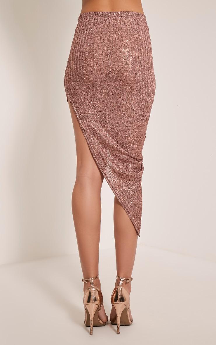 5146d6c047 Alba Rose Gold Slinky Drape Skirt | Jumpers | PrettyLittleThing