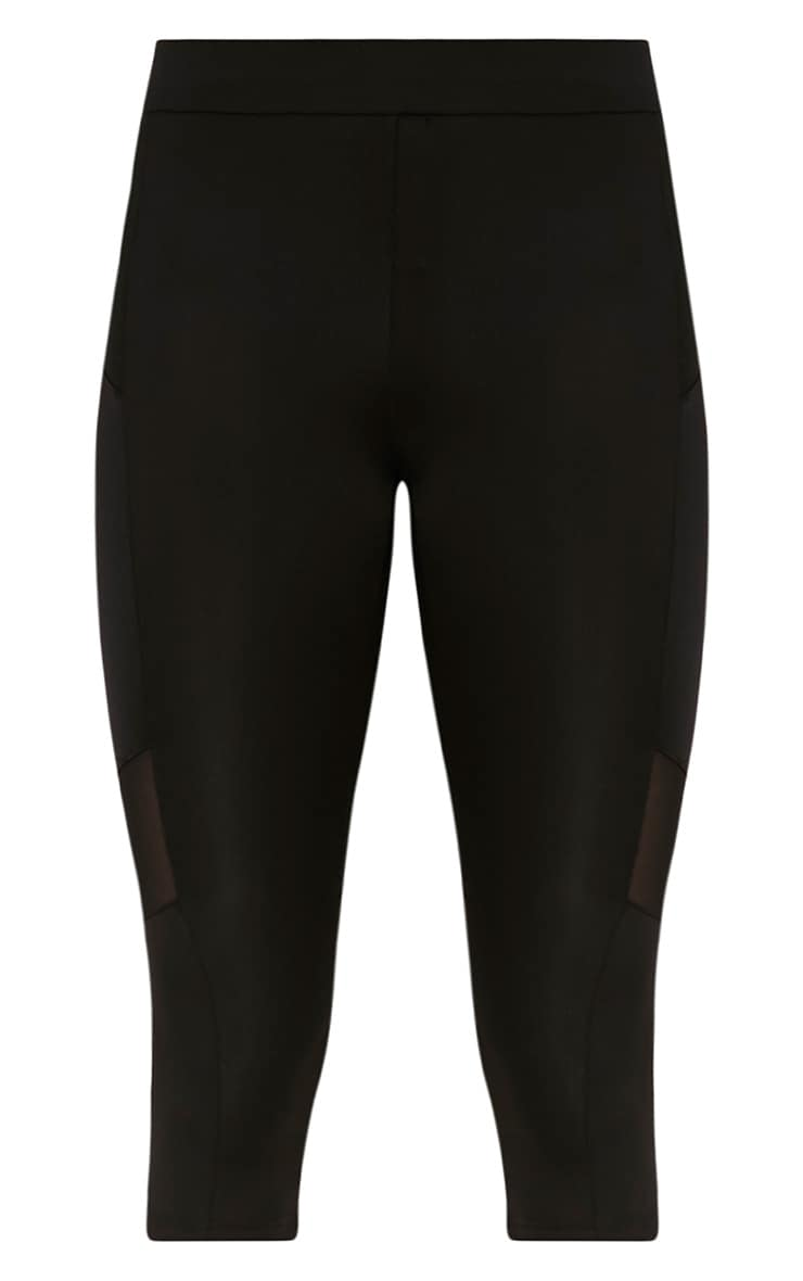 Franceska Black Mesh Panel Cropped Gym Leggings 3
