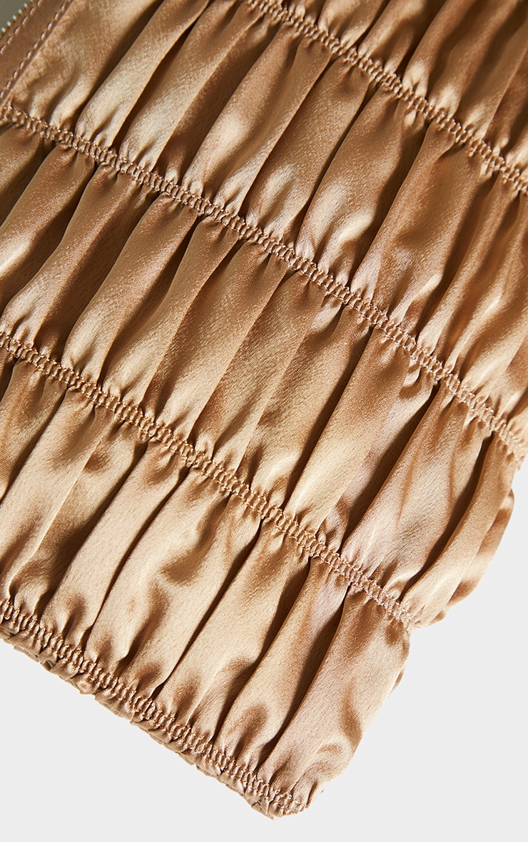 Nude Satin Oversized Ruched Clutch 4