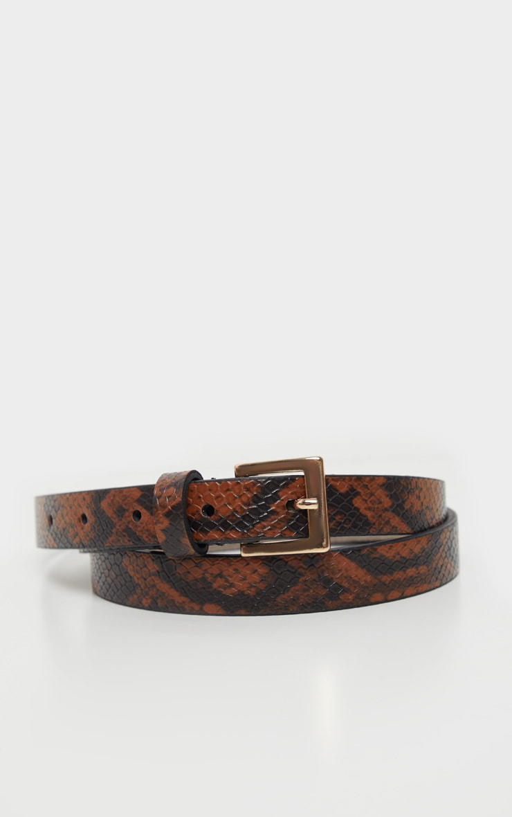 Brown Snake Skinny Basic Belt 2