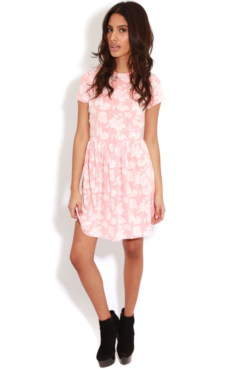 Eloise Coral Floral Dropped Hem Dress 3