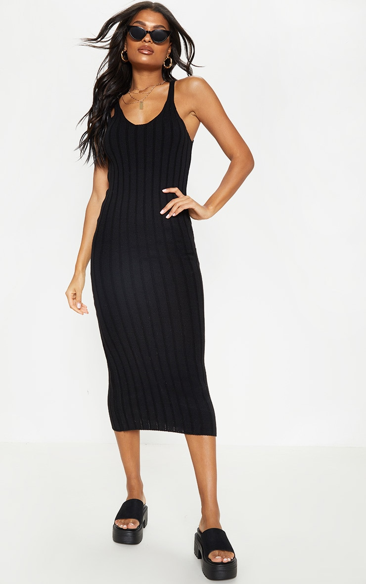 Black Ribbed Knitted Midaxi Dress 4