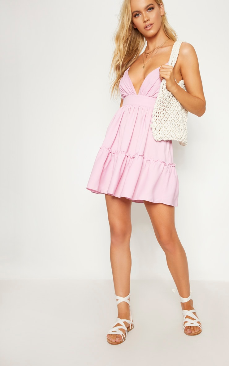 Lilac Ruched Frill Detail Strappy Skater Dress 4