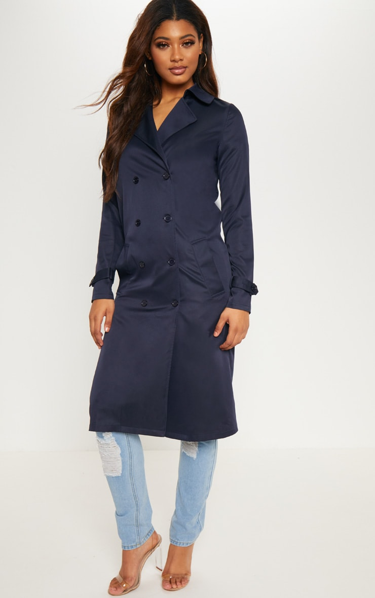 Tall Navy Oversized Longline Coat 4
