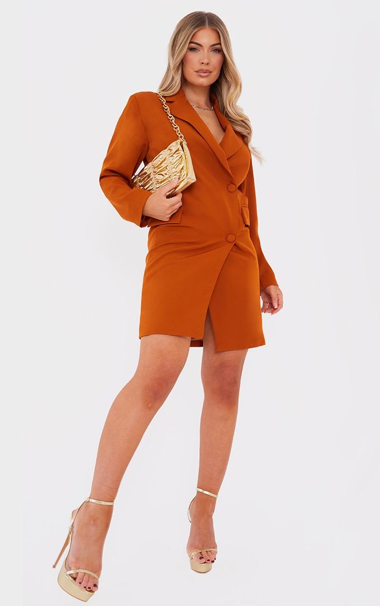 Rust Asymmetric Detail Shoulder Pad Blazer Dress 1