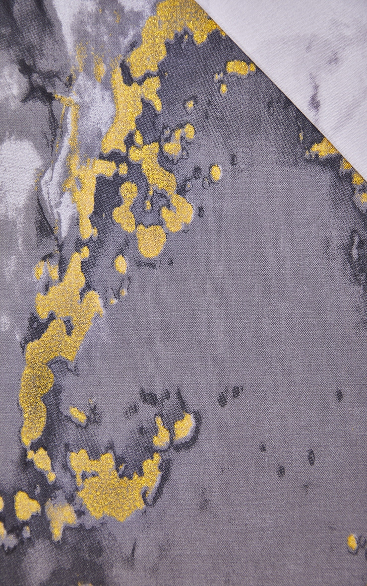 Grey with Gold Marble Print Double Duvet Set 4