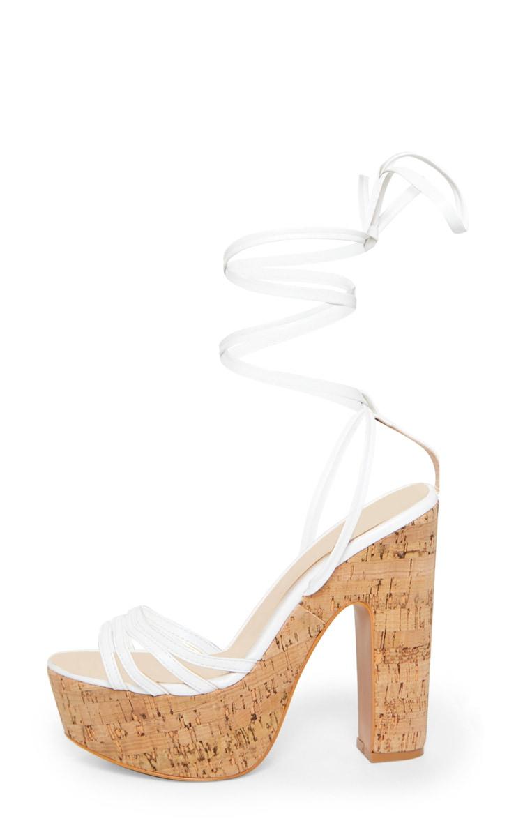 White Multi Strappy Ankle Tie Cork Platform Heeled Wedge Sandals 3