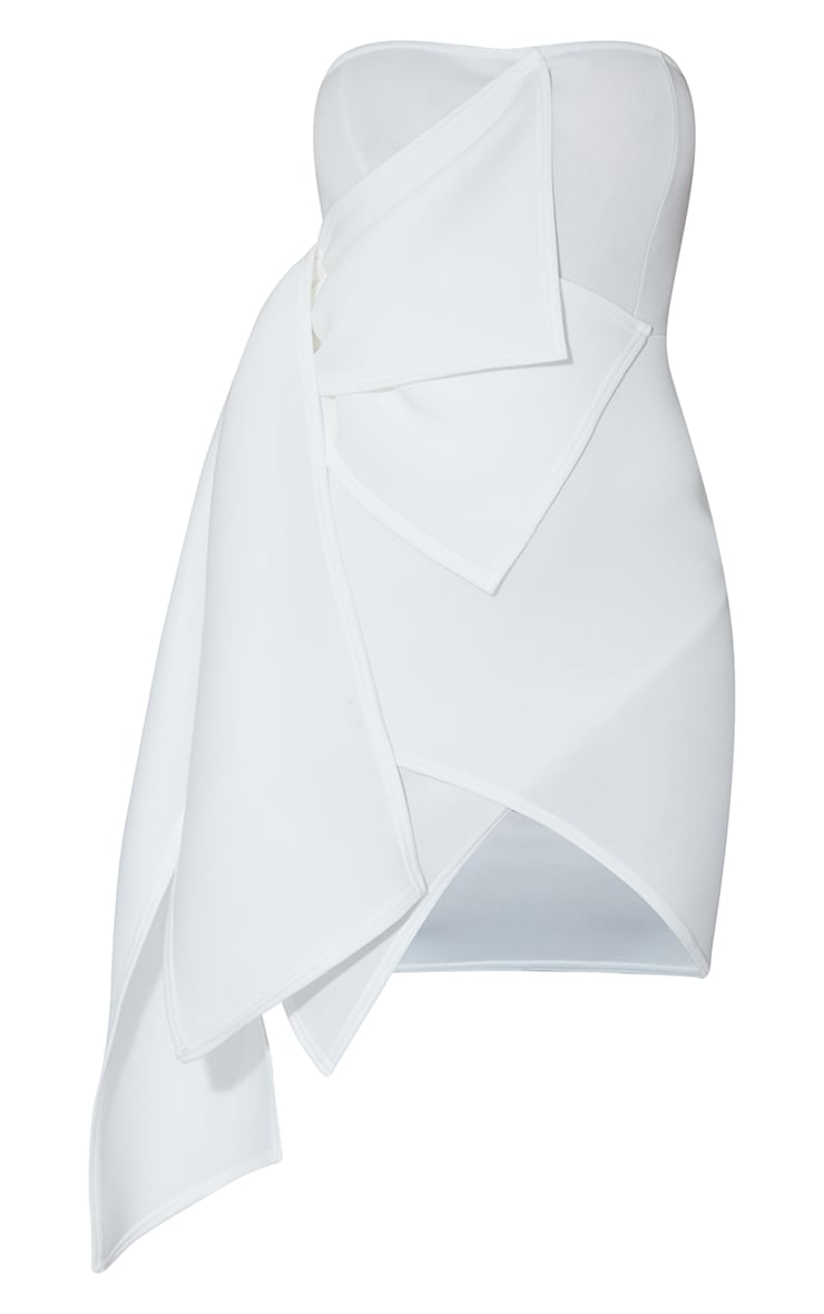 White Bonded Scuba Ruffle Wrap Bodycon Dress 5