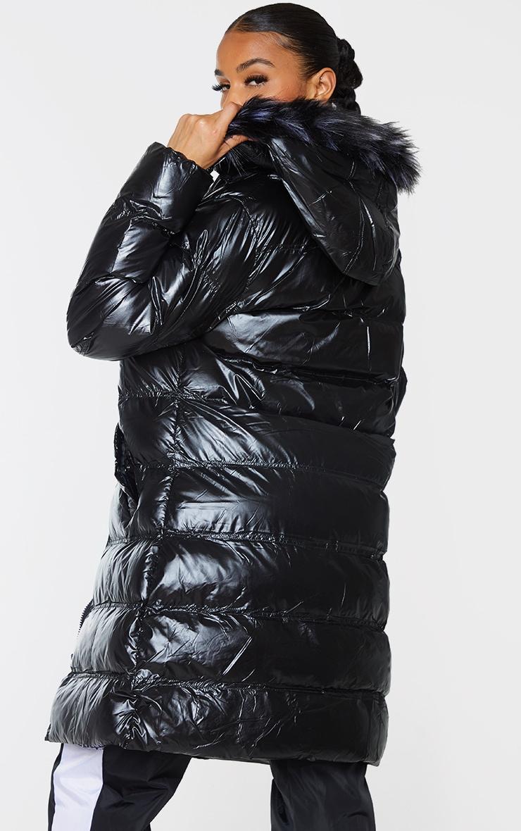 Black Faux Fur Hooded Midi High Shine Puffer 2