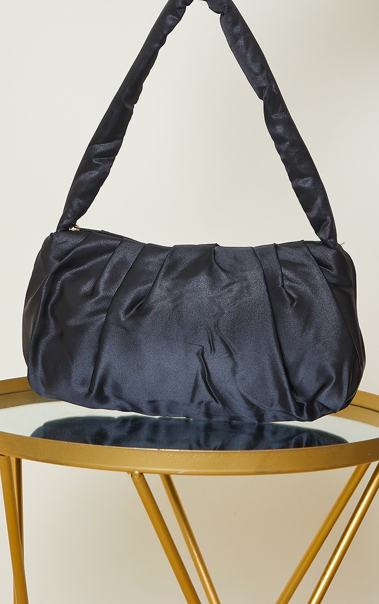 Black Satin Ruched Shoulder Bag 2