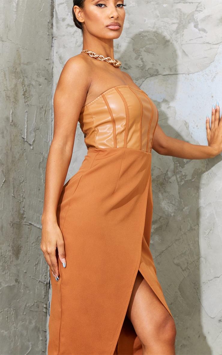 Tan PU Binding Detail Bandeau Midi Dress 4