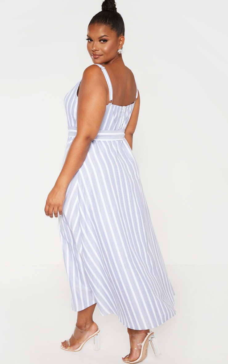 Plus Dusty Blue Striped Cut Out Belt Detail Midi Dress  2