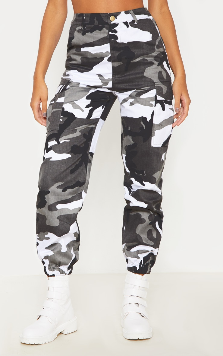 Grey Camo Pocket Detail Cargo Pants  2