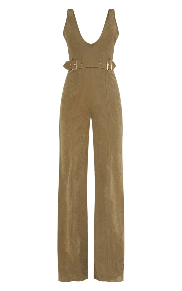 Khaki Soft Touch Belted Wide Leg Jumpsuit 3