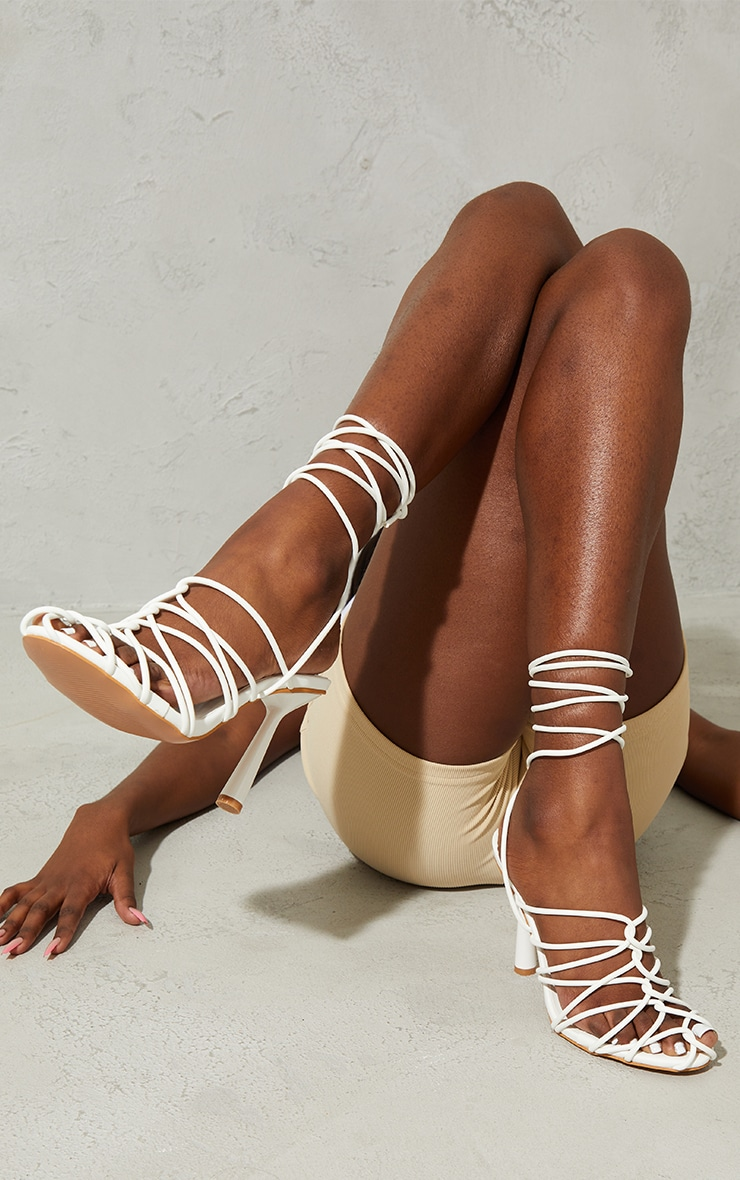 White PU Cage Detail Circle High Heeled Sandals 2
