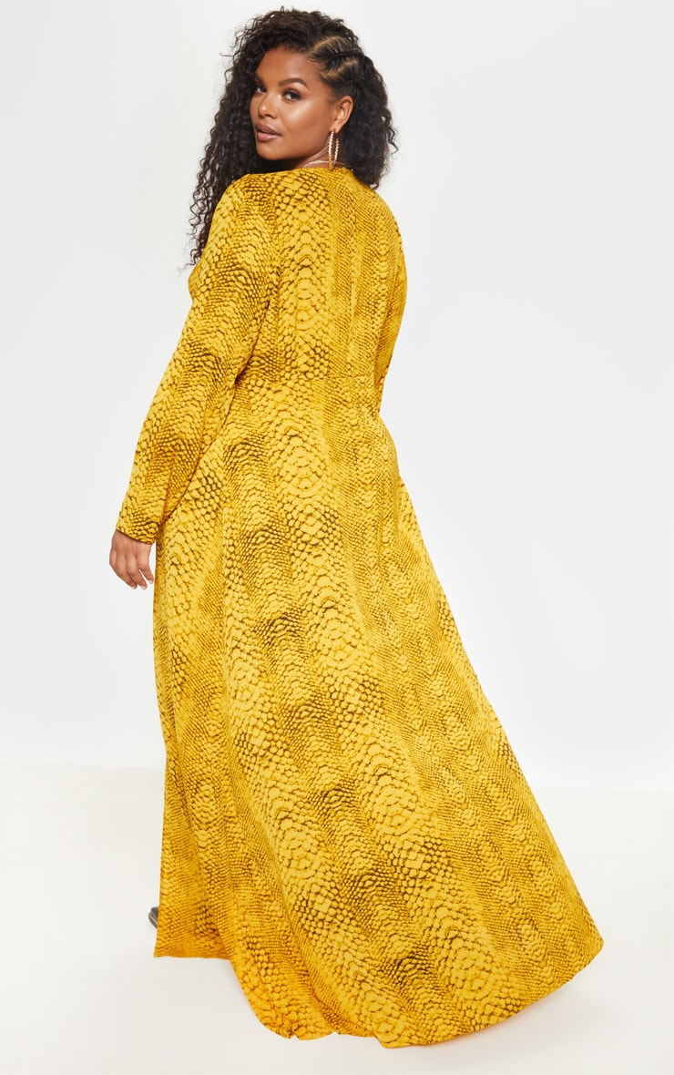 Plus Yellow Snake Twist Detail Maxi Dress 6